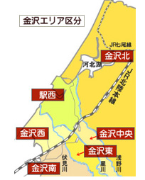 金沢市の地図